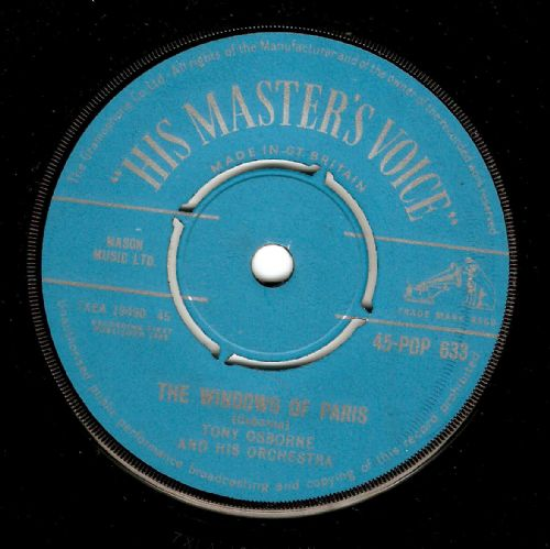 TONY OSBORNE The Windows Of Paris Vinyl Record 7 Inch HMV 1959